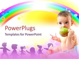 PowerPoint template displaying baby seated eating fruit with rainbow and kid figures in background
