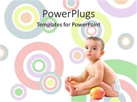 PowerPoint template displaying a baby sitting with a big red apple on a colorful background