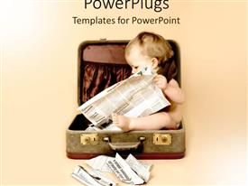 PowerPlugs: PowerPoint template with baby sitting in suitcase reading newspaper on pale background, starting early, infant