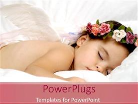 PowerPlugs: PowerPoint template with baby sleeping soundly with a flowers round the head