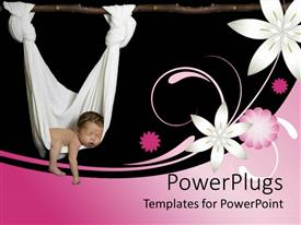 PowerPlugs: PowerPoint template with baby sleeping in a white hammock with pink and white flowers