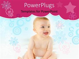 PowerPoint template displaying baby smiling on blue and pink flower, circle star background