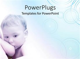 PowerPlugs: PowerPoint template with a baby sucking his/her mother's breast on a white background