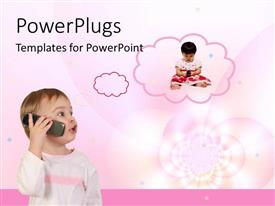 PowerPlugs: PowerPoint template with a baby talking into a phone with a thinking cloud displaying another baby