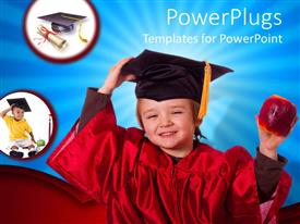 PowerPlugs: PowerPoint template with baby wearing a red colored graduation gown and cap holding an apple