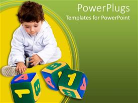 PowerPlugs: PowerPoint template with baby in white playing with number and alphabet blocks