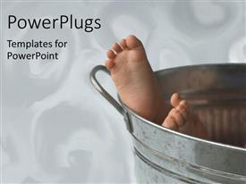 PowerPlugs: PowerPoint template with baby's feet showing from aluminium bucket on white background