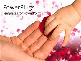 PowerPlugs: PowerPoint template with baby's hand taking a red rose petal from an adult hand