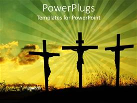 PowerPlugs: PowerPoint template with back lit silhouettes of Jesus on the cross between two thieves