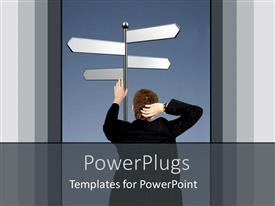 PowerPlugs: PowerPoint template with back of man thinking holding signpost with four arrows