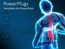 Elegant presentation design enhanced with back pain skeleton nervous human body blue background