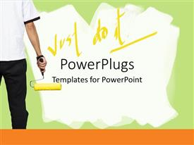 PowerPlugs: PowerPoint template with back of a painter man dressed in black and white holding a painting brush in his hand sitting in front of a painted wall with green and white background