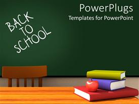 PowerPoint template displaying back to school classroom with chalkboard and desk with books and apple and a chair