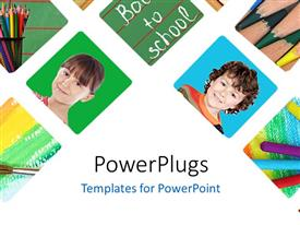 PowerPlugs: PowerPoint template with collage of learning depictions over white background