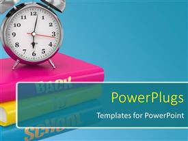 PowerPoint template displaying back to school concept. Alarm clock on books.
