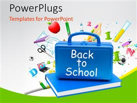 PowerPlugs: PowerPoint template with back to school concept with blue briefcase over the book and other educational material in the background