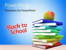 PowerPlugs: PowerPoint template with back to School concept with colored 3D Books and an Apple over it.