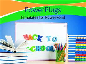 PowerPlugs: PowerPoint template with back to school depiction with book pile and school supplies
