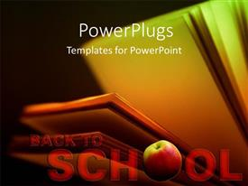 PowerPoint template displaying back to school depiction with open book and apple in black background