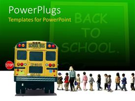 PowerPoint template displaying back to school on green chalkboard with school bus and pupils with teacher going to bus