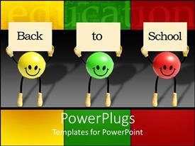 PowerPlugs: PowerPoint template with back to school with green, yellow and red smiley balls holding signs, education, teaching
