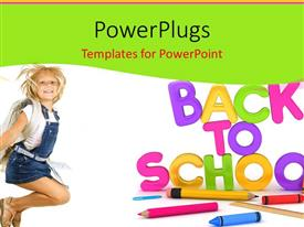 PowerPlugs: PowerPoint template with learning depiction with school supplies and cute girl dressed for school