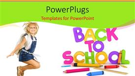PowerPoint template displaying learning depiction with school supplies and cute girl dressed for school