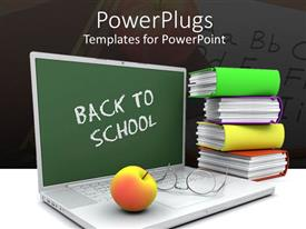 PowerPlugs: PowerPoint template with back to school laptop with apple, glasses and books, teacher, teaching, education