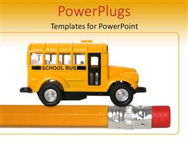 PowerPlugs: PowerPoint template with back to school with orange school bus toy on pencil, education