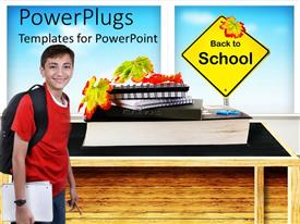 PowerPlugs: PowerPoint template with back to school with student wearing backpack, fall leaves, stack of books, education
