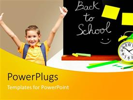PowerPlugs: PowerPoint template with back to school theme with child boy student celebrating, blackboard, alarm clock, pencils, ruler, chalk, education, teaching, learning