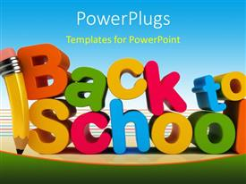 PowerPlugs: PowerPoint template with colorful letters form text back to school with pencil