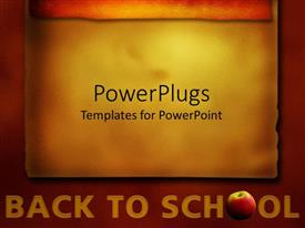 PowerPlugs: PowerPoint template with the back to school words with yellowish and red background