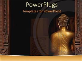 PowerPoint template displaying back of a statue of Buddha with columns, Buddhism, religion