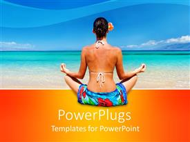 PowerPoint template displaying the back view of a lady performing yoga on the shores of a beach