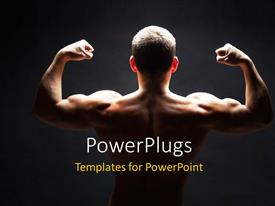 PowerPoint template displaying back view of young heavy built man showing off muscles