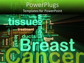 PowerPlugs: PowerPoint template with the background consist of a number of texts related to breast cancer