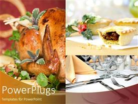 PowerPlugs: PowerPoint template with the background consisting of various dishes, cup cakes and cutlery