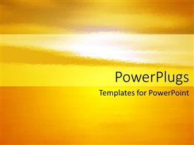 PowerPoint template displaying background depicting the setting of the sun orange yellow colors
