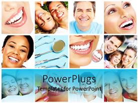 PowerPlugs: PowerPoint template with background filled with icons depicting smiling people with perfect white smiles