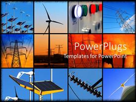 PowerPoint template displaying background formed of twelve different electricity depictions with solar panels windmill and electricity post