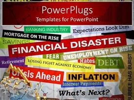 PowerPlugs: PowerPoint template with a background full of text related to finance and economics