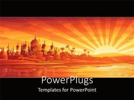 PowerPlugs: PowerPoint template with a background including a palace, sea and rising sun