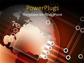 PowerPlugs: PowerPoint template with a background made of various chips and the globe