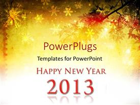 PowerPlugs: PowerPoint template with a background with a text that spell out the words 'Happy New Year'