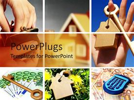 PowerPlugs: PowerPoint template with a background of various boxes having different images including keys, houses and calculators