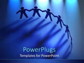 PowerPoint template displaying backlit chain of paper dolls, teamwork