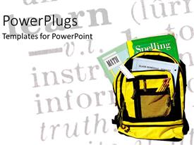 PowerPlugs: PowerPoint template with backpack with pencils ruler and textbooks over chalkboard in background