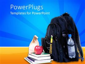 PowerPlugs: PowerPoint template with backpack, water bottle, books, sack lunch, education, school