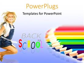 PowerPlugs: PowerPoint template with a kid happy because of being back in school